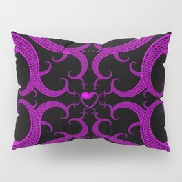 Purple Gothic Fractal Heart Pattern Pillow Sham