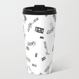 Nerd Text - Seamless - B&W Travel Mug