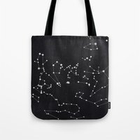 constellation Tote Bags featuring Constellation by Mille Dørge