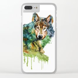 Wolf face watercolor painting Clear iPhone Case