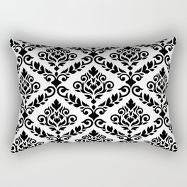 Prima Damask Pattern Black on White Rectangular Pillow