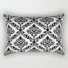 Prima Damask Pattern Black on White Rectangular Pillow