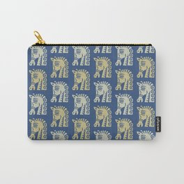 Mid Century Horse Pattern Blue Gold and Oyster Carry-All Pouch