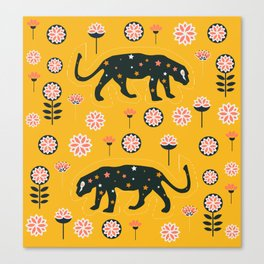 Fantastic jaguars and flowers Canvas Print