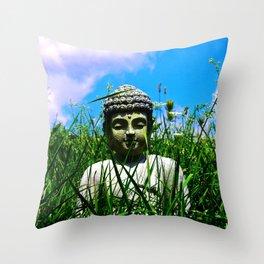 Buddha Looks Through Grass Throw Pillow