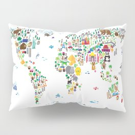 Animal Map of the World for children and kids Pillow Sham