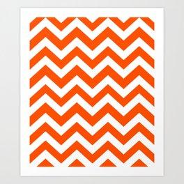 International orange (aerospace) - orange color - Zigzag Chevron Pattern Art Print