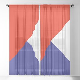 Triangles Retro Pop Art Abstract - Red White Blue Series Sheer Curtain