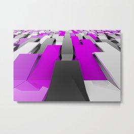 White, black and violet plastic waves Metal Print