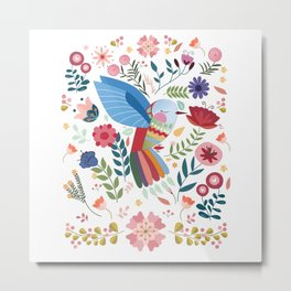 Folk Art Inspired Hummingbird In A Burst Of Springtime Blossoms Metal Print