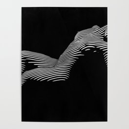 0067-DJA Zebra Nude Woman Yoga Black White Abstract Curves Expressive Line Slim Fit Girl  Poster