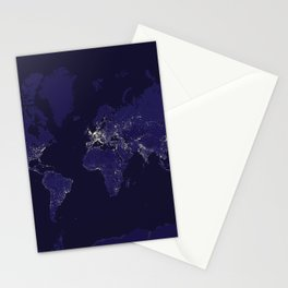 The world map at night in navy blue Stationery Cards