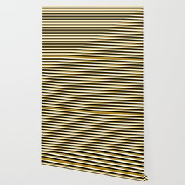 Dark Goldenrod, Mint Cream, and Black Lined/Striped Pattern Wallpaper