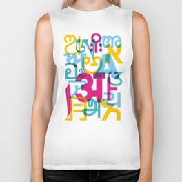 A in Scripts Around the World Biker Tank