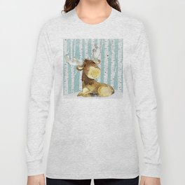 Winter Woodland Friends Deer Moose Snowy Forest Illustration Long Sleeve T-shirt