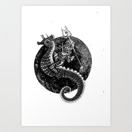 Neptun's Steed- Black & White Art Print