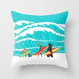 Summer Holiday Surfing Throw Pillow