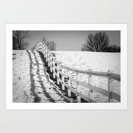 Endless Fences Black & White Rural Landscape Photo #society6 #decor #buyart Art Print