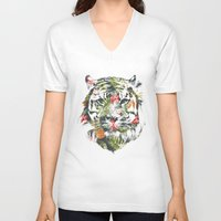 tropical V-neck T-shirts featuring Tropical tiger by Robert Farkas