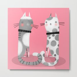 CATS ON PINK Metal Print