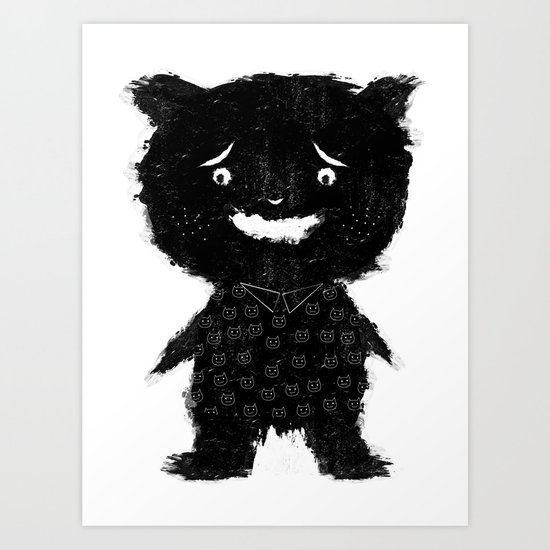 MONSTER LOVES CAT Art Print