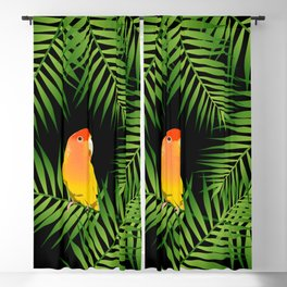 Lovebird Parrots in Green Palm Leaves on Black Blackout Curtain