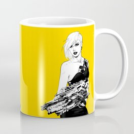 Badass girl with gun in comic pop art style Coffee Mug