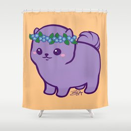 Baby Pom Has Forget Me Nots Shower Curtain