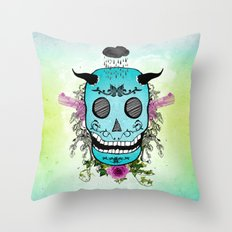 Rain Skull Throw Pillow