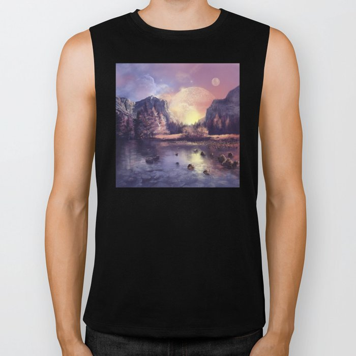 fantasy landscape Biker Tank