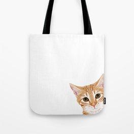 Peeking Orange Tabby Cat - cute funny cat meme for cat ladies cat people Tote Bag