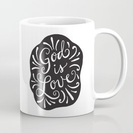 God is Love Black and White Coffee Mug