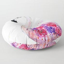 Flamingo, watercolor Floor Pillow