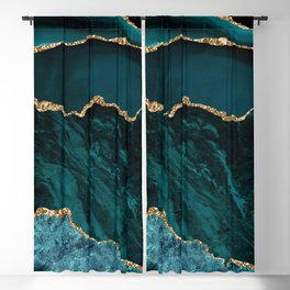 Teal & Gold Agate Texture 02 Blackout Curtain