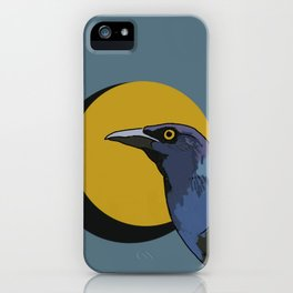 Grackle and Eclipsing Moon iPhone Case
