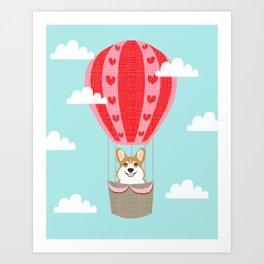 Corgi hot air balloon funny dog art cute puppy nursery Art Print