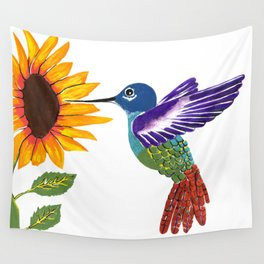 The Sunflower And The Hummingbird Wall Tapestry