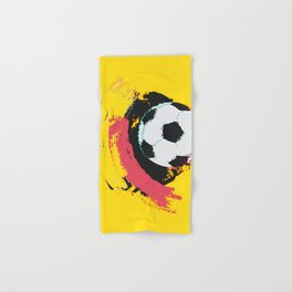 Football ball and red, yellow strokes Hand & Bath Towel