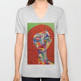 Pop Art woman face colors Fauve Lady 3 rock  Unisex V-Neck