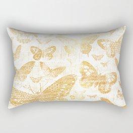 Rustic gold butterfly pattern Rectangular Pillow