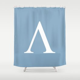 Greek letter lambda sign on placid blue background Shower Curtain