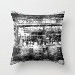 Ye Old Shambles Tavern York Vintage Throw Pillow