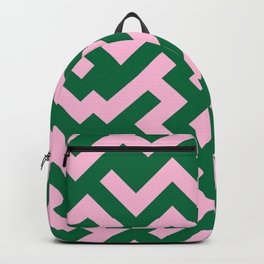 Cotton Candy Pink and Cadmium Green Diagonal Labyrinth Backpack