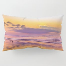 Sunrise colors reflecting in wet sand Pillow Sham