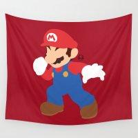 mario Wall Tapestries featuring Mario(Smash) by ejgomez