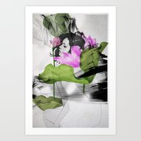 lotus flower Art Prints featuring Lotus by SEVENTRAPS