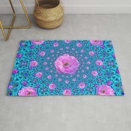 100 PINK ROSES & TURQUOISE ART Rug