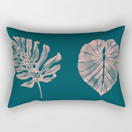 Tropical leaves in watercolor, navy/peach palette Rectangular Pillow