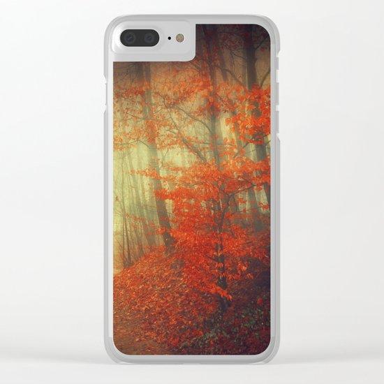 fire walk - retro autumn forest Clear iPhone Case