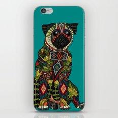 pug love teal iPhone & iPod Skin